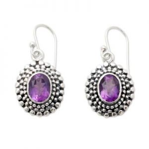 Artisan Crafted Cut Amethyst 925 Sterling Silver Dangle Earrings CutE13