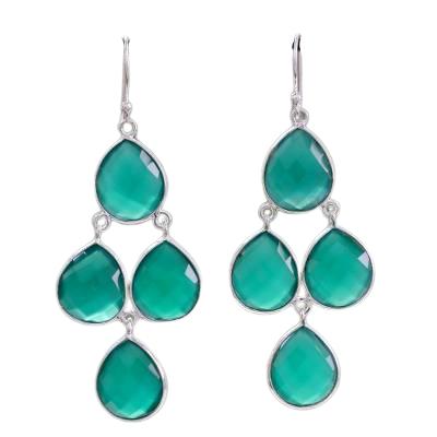 Green Onyx Checker Cut Chandelier 925 Sterling Silver Earrings CutE11
