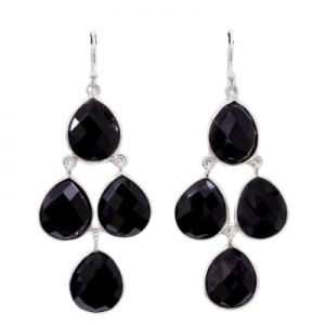 Black Onyx Checker Cut Chandelier 925 Sterling Silver Earrings CutE10