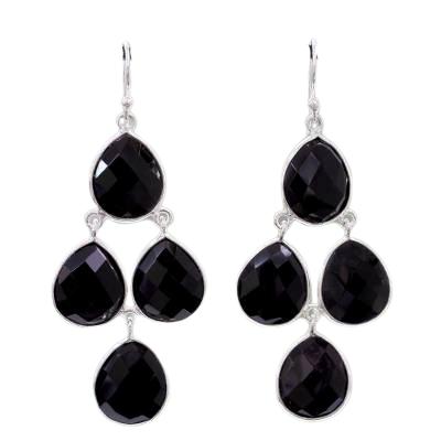 Black Onyx Checker Cut Chandelier 925 Sterling Silver Earrings CutE10