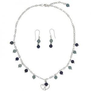 925 Silver Jewelry Set with Aquamarine and Lapis Lazuli Beads NS22