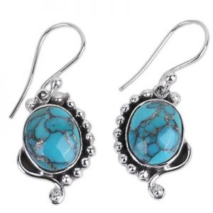 Blue Copper Turquoise Sterling Silver 925 Earrings CabE8