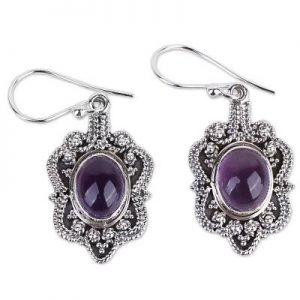 Amethyst Cab Handmade Sterling Silver 925 Earrings CabE10
