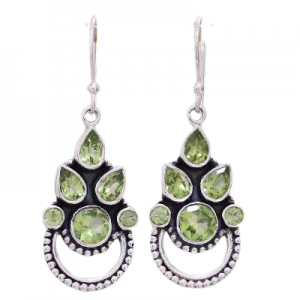 Handmade Peridot Cut Gemstone Earrings from India Sterling Silver 925 CutE16