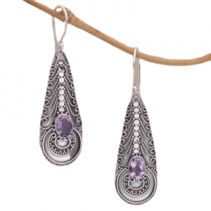 Handmade Amethyst Cut Gemstone Earrings from India Sterling Silver 925 CutE17