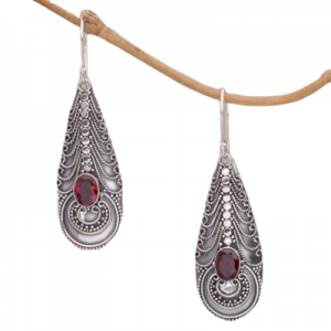 Handmade Garnet Cut Gemstone Earrings from India Sterling Silver 925 CutE18
