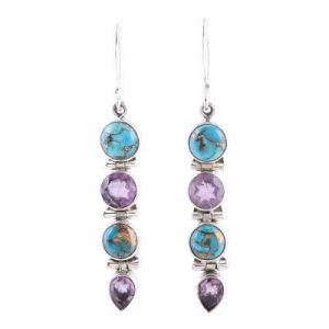 Blue Copper Turquoise & Amethyst 925 Sterling Silver Earrings CabE4