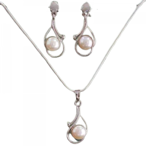 Bridal Unique 925 Sterling Silver Pearl Jewelry Set from India NS24