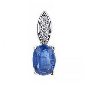 GENUINE ELEGANT OVAL BLUE KYANITE 925 SILVER PENDANT