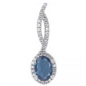 REAL OVAL LONDON BLUE TOPAZ 925 SILVER CASTING PENDANT
