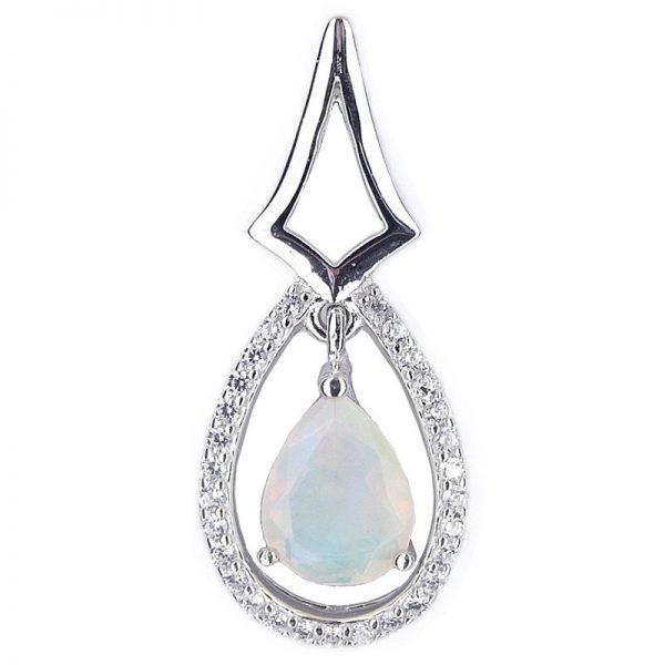 NATURE PEAR WHITE OPAL 925 SILVER CASTING PENDANT
