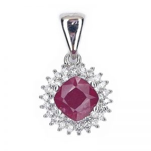REAL CUSHION BLOOD RED RUBY 925 SILVER CASTING PENDANT