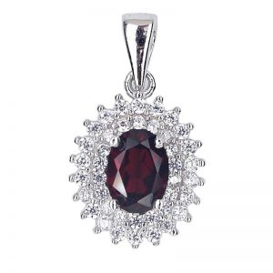 NATURAL DECENT OVAL DARK RED GARNET 925 SILVER PENDANT