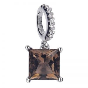 NATURAL PRINCESS CUT SMOKY QUARTZ 925 SILVER PENDANT