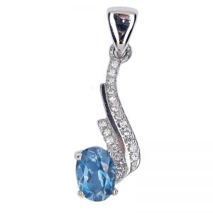 GENUINE OVAL LONDON BLUE TOPAZ 925 SILVER PENDANT