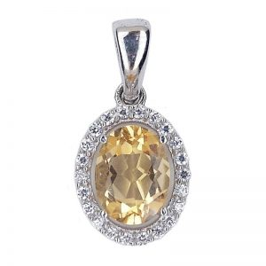 NATURAL BEST DAZZLING YELLOW CITRINE 925 SILVER PENDANT