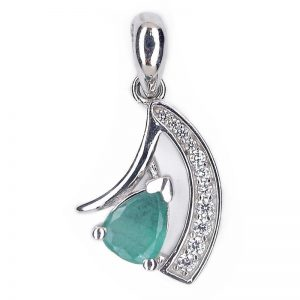 NATURAL GREEN PEAR EMERALD 925 SILVER GENEROUS PENDANT