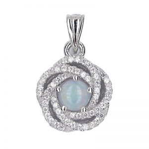 NATURAL ROUND CAB WHITE OPAL 925 SILVER FLOWER PENDANT