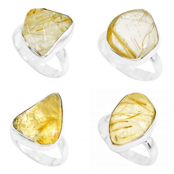 Fancy Golden Rutile 100 Gram Wholesale Ring Lot Bulk Jewelry