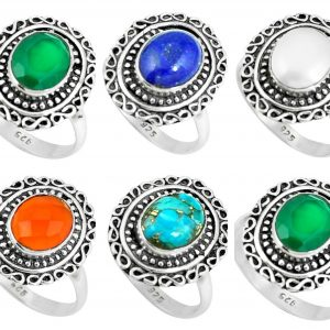 Wholesale 925 Silver Rings Mix Lot 100 Grams Multi Gemstone WHR8
