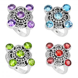Cut Gemstone Rings - 100 Grams Wholesale Rings Bulk Lot WHR9