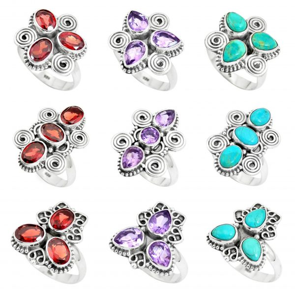 Amethyst, Garnet & Turquoise 100 Gram Wholesale Ring Lot WHR12