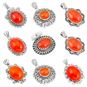 Carnelian Cab Wholesale 925 Silver Jewelry 100 Gram Pendant Lot WHP17