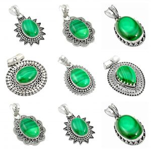 Malachite Wholesale 925 Silver Jewelry 100 Gram Pendant Lot WHP20