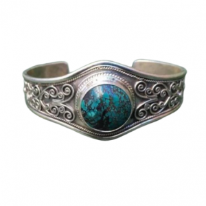 Adjustable Tibetan Turquoise Natural Gemstone 925 Silver Cuff