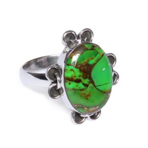 Green Copper Turquoise Indian 925 Silver Handmade Ring CABR15