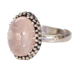 Boho Rose Quartz Ring in 925 Sterling Silver Indian Jewelry CABR28