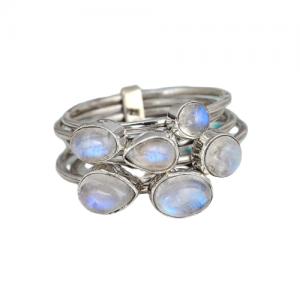 Stackable Unique Handmade Rainbow Moonstone 925 Silver Rings CABR30