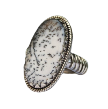 Dendratic Opal Gemstone 925 Sterling Silver Statement Ring CABR33