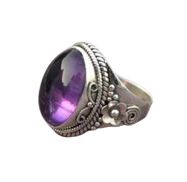 Amethyst Cab 925 Sterling Silver Ring Indian Jewelry CABR40