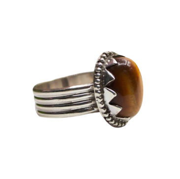 Tigers Eye 925 Sterling Silver Ring Wholesale Indian Jewelry CABR42
