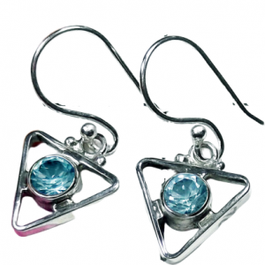 Modern Designer Blue Topaz Facetite Gemstone 925 Silver Earrings CutE21