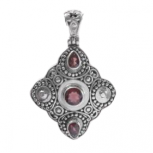 Royal Style Garnet Natural Gemstone 925 Silver Pendant