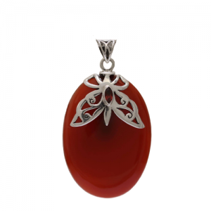 Carnelian and Garnet 925 Sterling Silver Butterfly Pendant CAB107