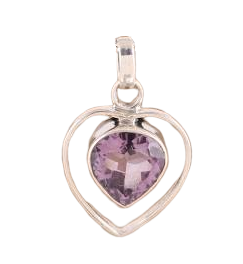 925 Sterling Silver Faceted Amethyst Heart Pendant Necklace