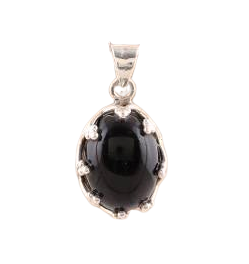 925 Sterling Silver Black Onyx Pendant from India CabP108
