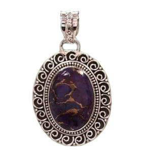 Wholesale Sterling silver 925 Purple Copper Turquoise Pendant CAB115
