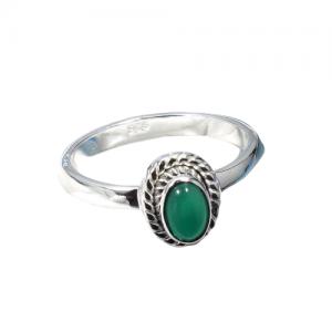 Green Onyx Genuine Gemstone Delicate Dainty 925 Silver Ring CABR12
