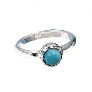Larimar Genuine Gemstone Delicate Dainty 925 Silver Ring CABR11