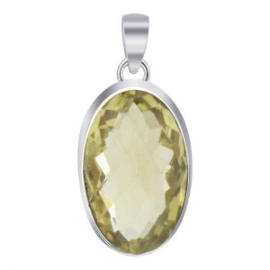 Faceted Lemon Quartz Oval Shape Gemstone 925 Sterling Silver Pendant Cab121