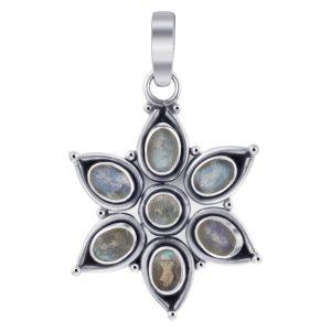 Sterling Silver Floral Star Labradorite Gemstone Pendant Cab120