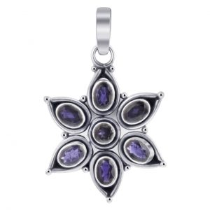 Sterling Silver Floral Star Iolite Gemstone Pendant