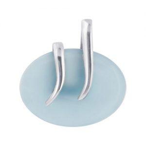 "Aqua Chalcedony Cab Gemstone 925 Sterling Silver 1.6"" Pendant"