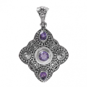 Amethyst Gemstone with Unique Artwork 925 Silver Pendant