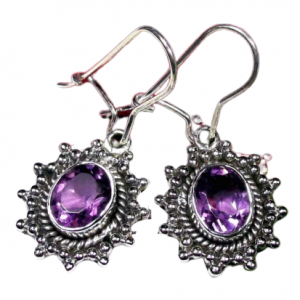 Handmade Amethyst Cut Gemstone Earrings Sterling Silver 925 CutE20
