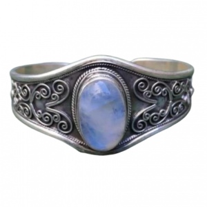 Adjustable Natural Rainbow Moonstone 925 Silver Wholesale Bracelet Cuff